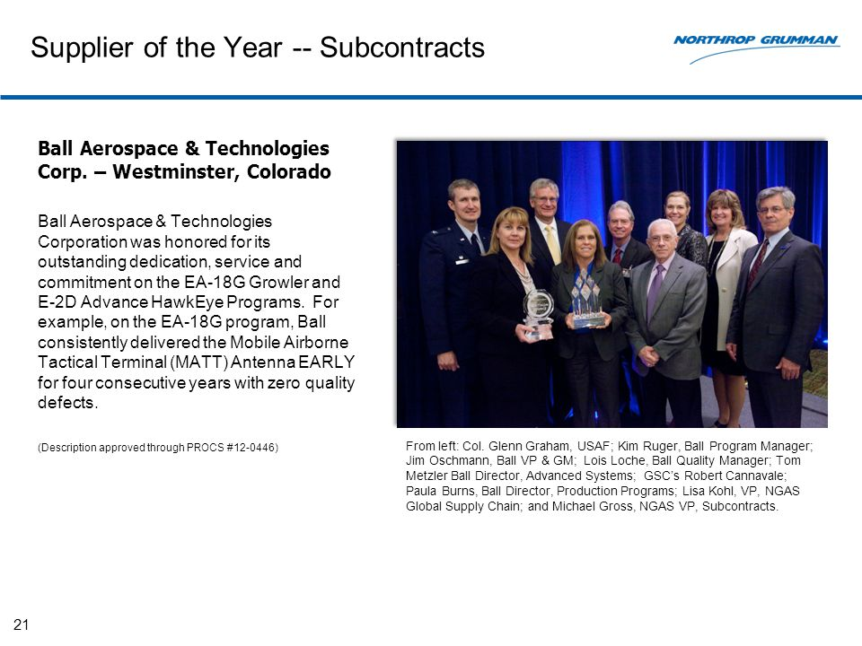 Supplier of the Year -- Subcontracts Ball Aerospace & Technologies Corp.
