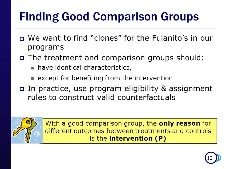 12 Finding Good Comparison Groups  We want to find clones for the Fulanito's in our programs  The treatment and comparison groups should: have identical characteristics, except for benefiting from the intervention  In practice, use program eligibility & assignment rules to construct valid counterfactuals With a good comparison group, the only reason for different outcomes between treatments and controls is the intervention (P)