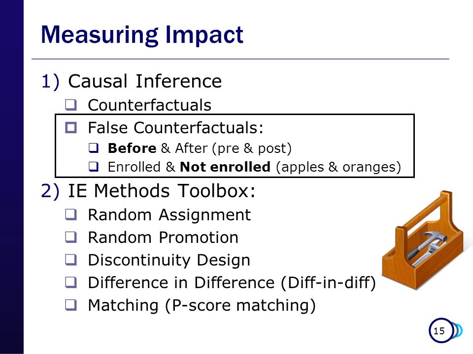 15 Measuring Impact 1)Causal Inference  Counterfactuals  False Counterfactuals:  Before & After (pre & post)  Enrolled & Not enrolled (apples & oranges) 2)IE Methods Toolbox:  Random Assignment  Random Promotion  Discontinuity Design  Difference in Difference (Diff-in-diff)  Matching (P-score matching)