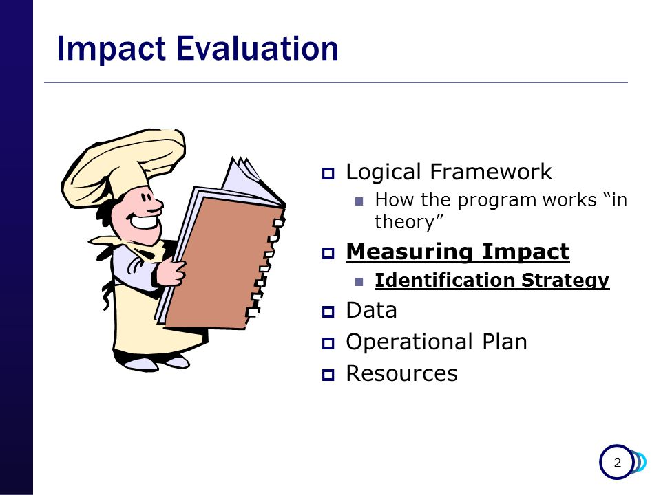 2 Impact Evaluation  Logical Framework How the program works in theory  Measuring Impact Identification Strategy  Data  Operational Plan  Resources