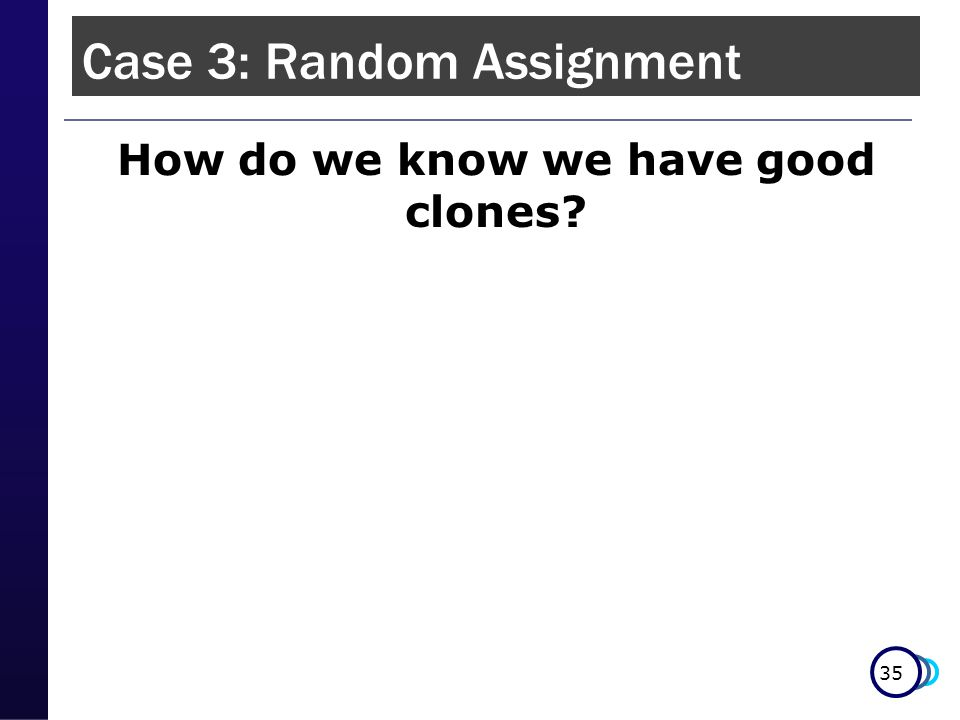 35 How do we know we have good clones Case 3: Random Assignment