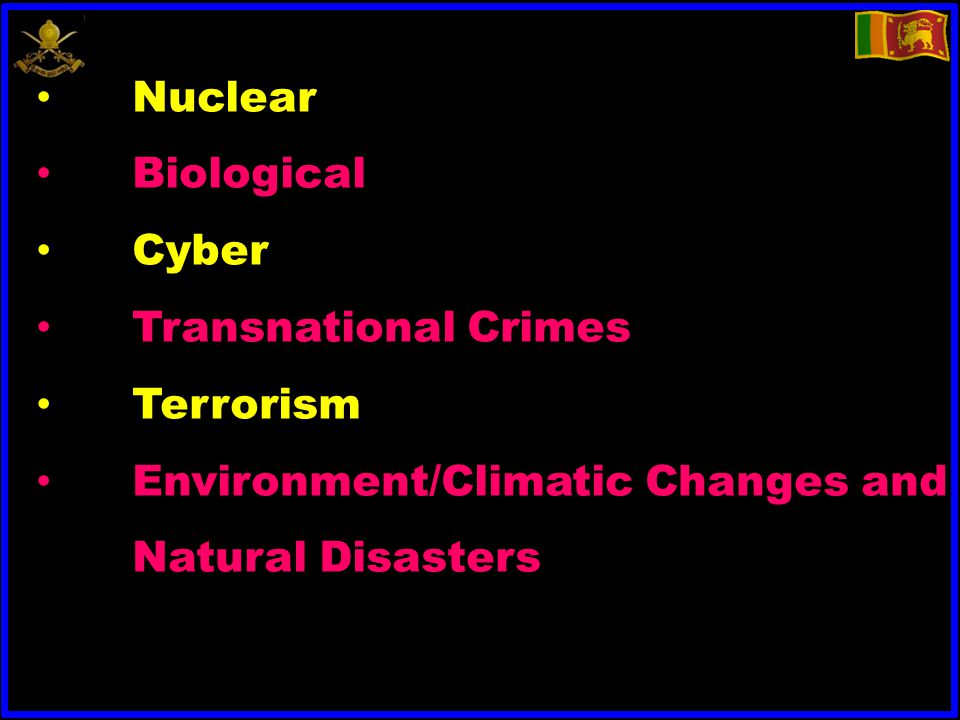 Nuclear Biological Cyber Transnational Crimes Terrorism Environment/Climatic Changes and Natural Disasters