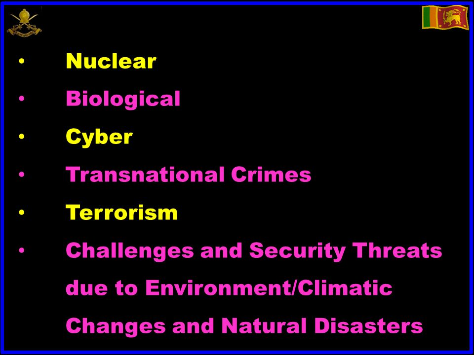 Nuclear Biological Cyber Transnational Crimes Terrorism Challenges and Security Threats due to Environment/Climatic Changes and Natural Disasters