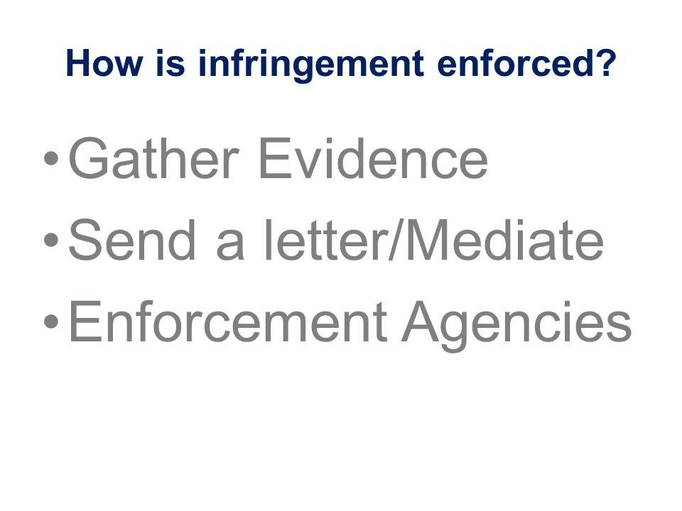 How is infringement enforced? Gather Evidence Send a letter/Mediate Enforcement Agencies
