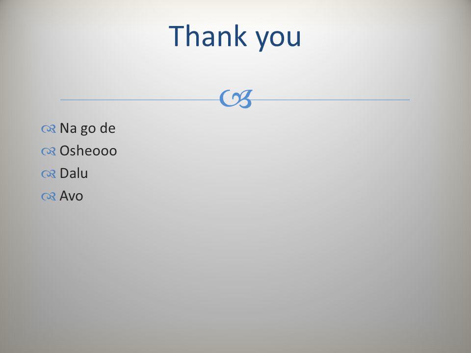   Na go de  Osheooo  Dalu  Avo Thank you