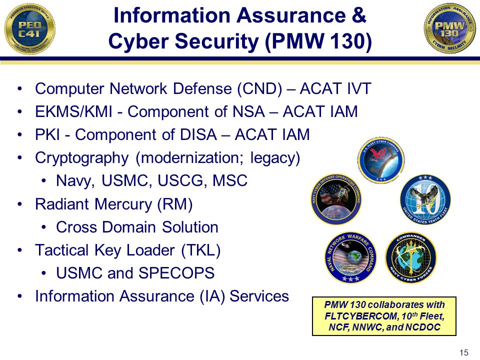 Information Assurance & Cyber Security (PMW 130) Computer Network Defense (CND) – ACAT IVT EKMS/KMI - Component of NSA – ACAT IAM PKI - Component of D