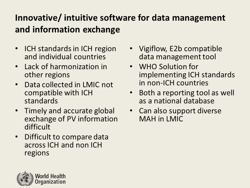 Innovative/ intuitive software for data management and information exchange ICH standards in ICH region and individual countries Lack of harmonization in other regions Data collected in LMIC not compatible with ICH standards Timely and accurate global exchange of PV information difficult Difficult to compare data across ICH and non ICH regions Vigiflow, E2b compatible data management tool WHO Solution for implementing ICH standards in non-ICH countries Both a reporting tool as well as a national database Can also support diverse MAH in LMIC