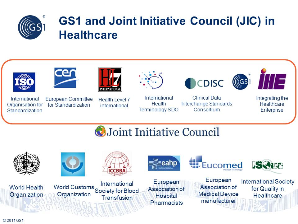 © 2011 GS1 GS1 and Joint Initiative Council (JIC) in Healthcare International Organisation for Standardization European Committee for Standardization
