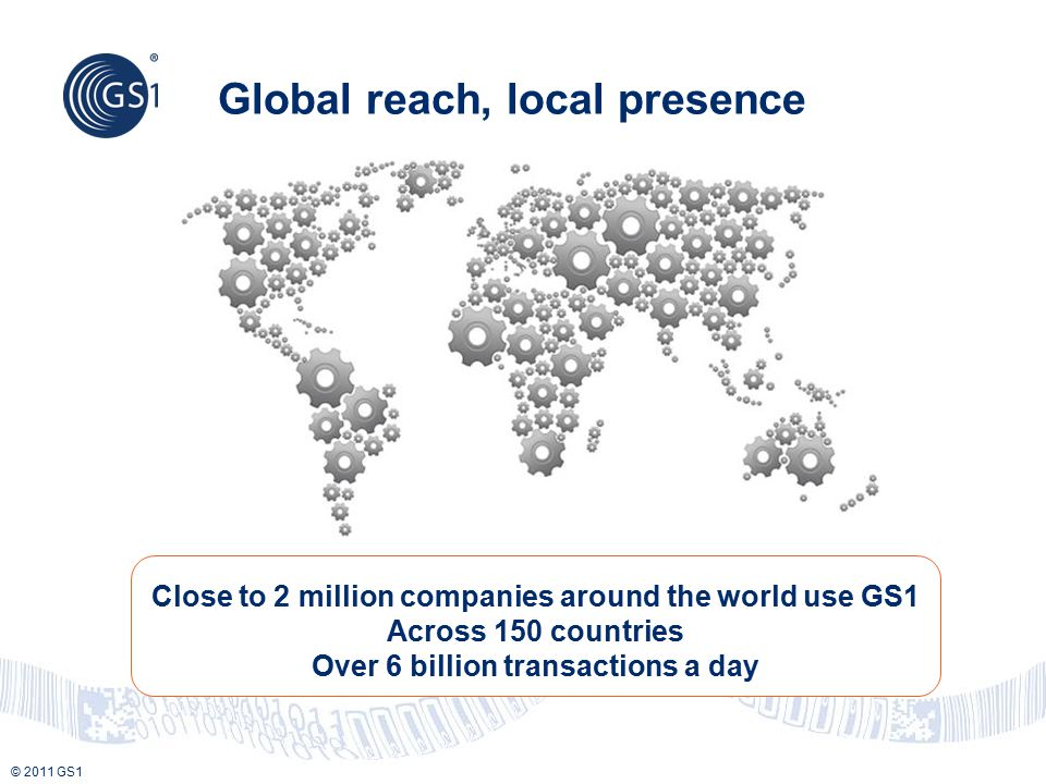 © 2011 GS1 Global reach, local presence Close to 2 million companies around the world use GS1 Across 150 countries Over 6 billion transactions a day