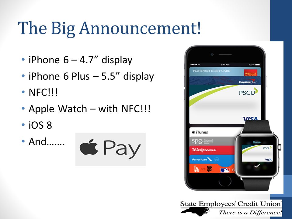 "The Big Announcement! iPhone 6 – 4.7"" display iPhone 6 Plus – 5.5"" display NFC!!! Apple Watch – with NFC!!! iOS 8 And……."