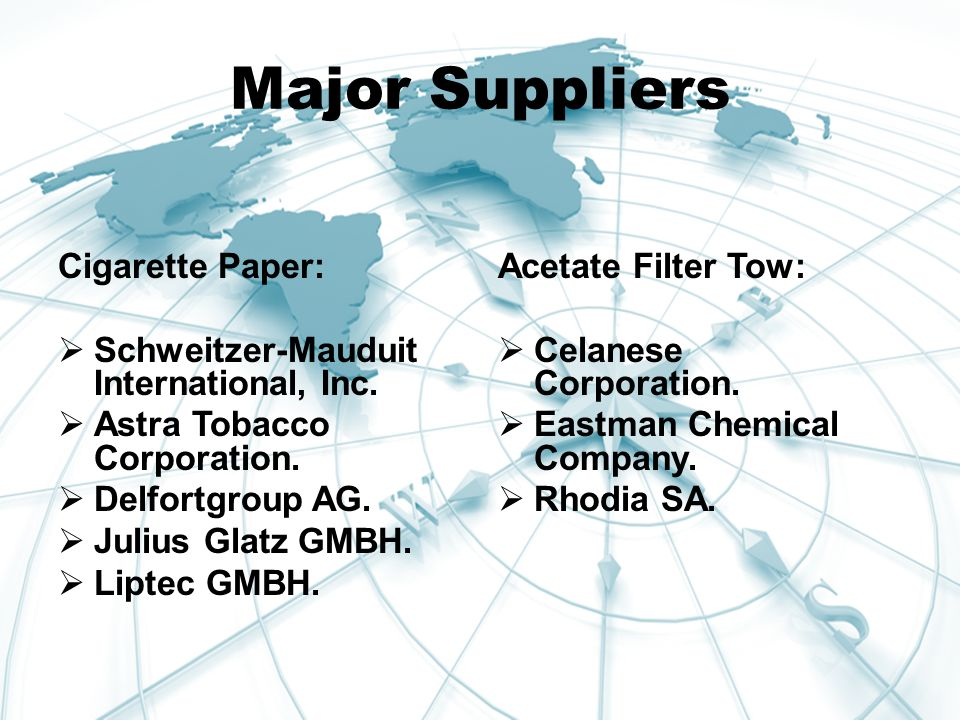 Major Suppliers Cigarette Paper:  Schweitzer-Mauduit International, Inc.