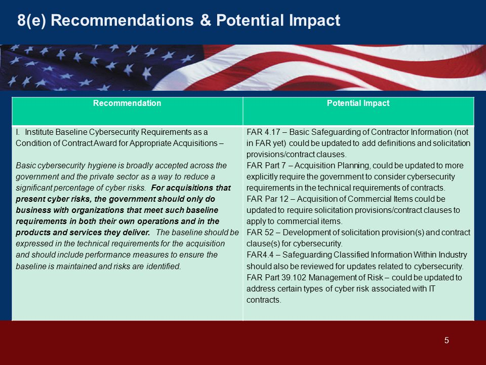 8(e) Recommendations & Potential Impact RecommendationPotential Impact I.