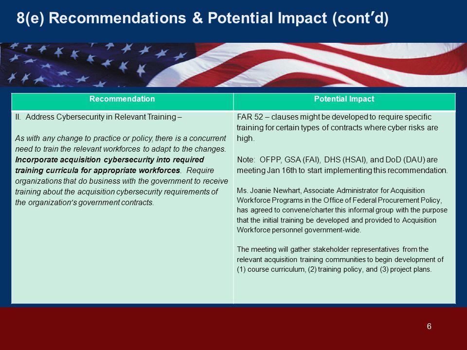 8(e) Recommendations & Potential Impact (cont'd) RecommendationPotential Impact II.