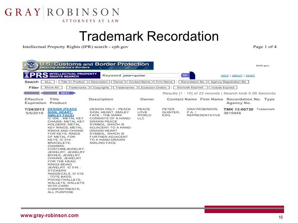 www.gray-robinson.com 10 Trademark Recordation