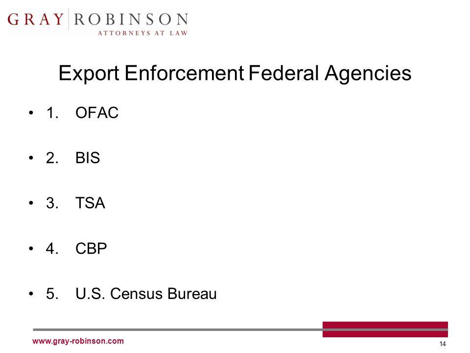 www.gray-robinson.com 14 Export Enforcement Federal Agencies 1.OFAC 2.BIS 3.TSA 4.CBP 5.U.S. Census Bureau