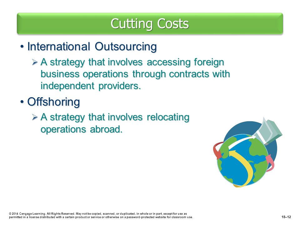 Cutting Costs International OutsourcingInternational Outsourcing  A strategy that involves accessing foreign business operations through contracts wi