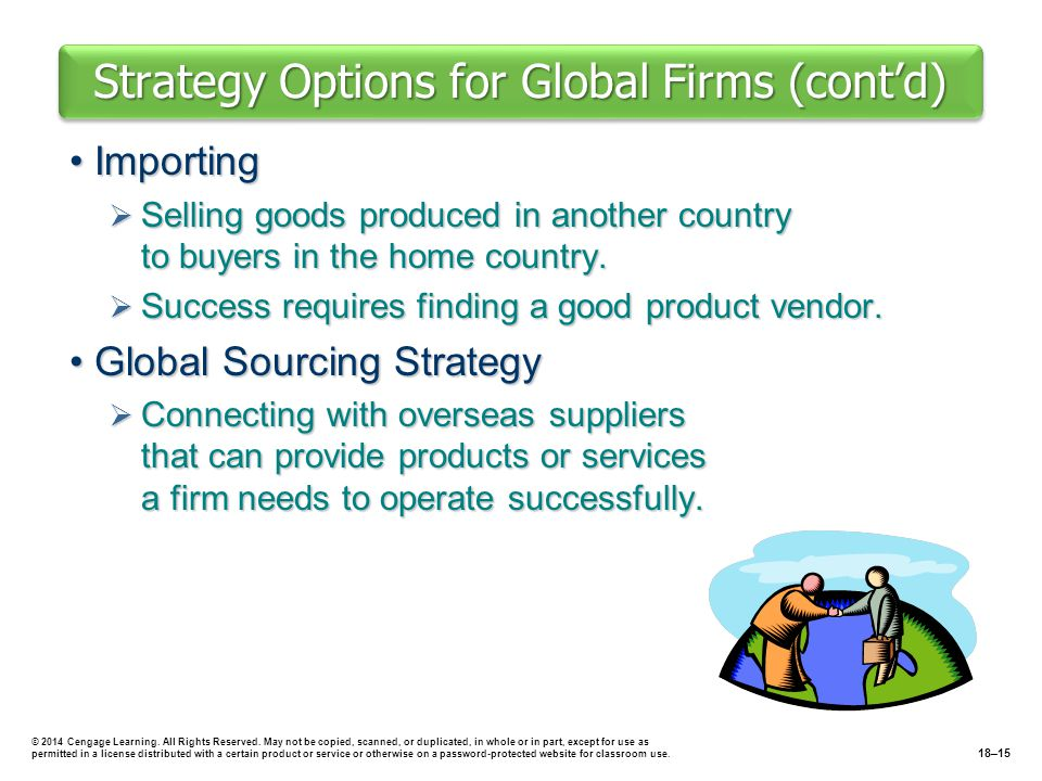 Strategy Options for Global Firms (cont'd) ImportingImporting  Selling goods produced in another country to buyers in the home country.  Success req