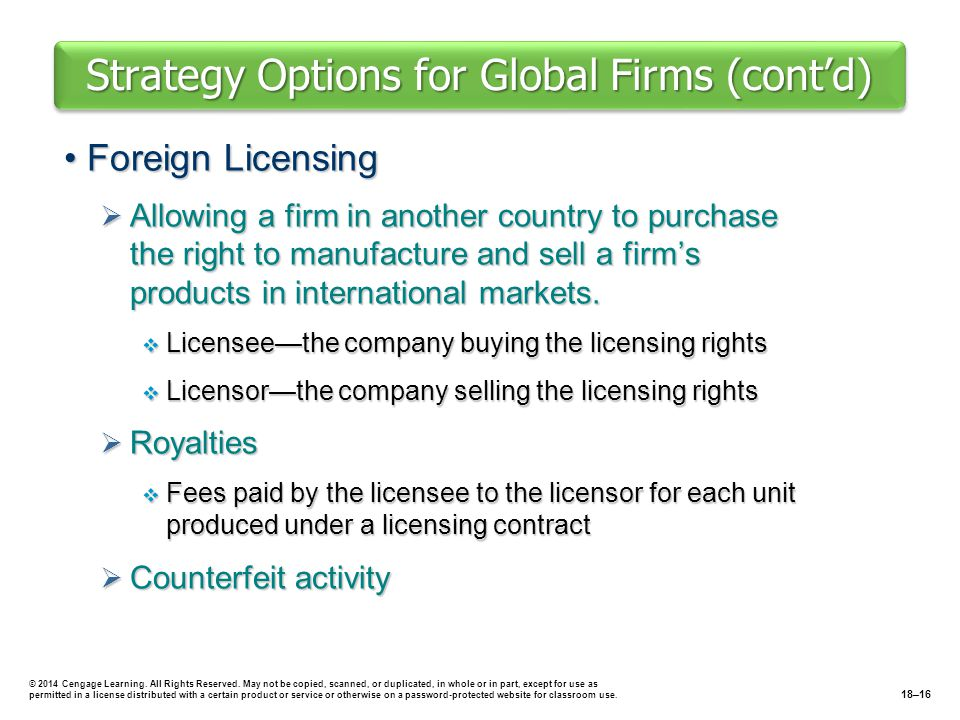 Strategy Options for Global Firms (cont'd) Foreign LicensingForeign Licensing  Allowing a firm in another country to purchase the right to manufactur