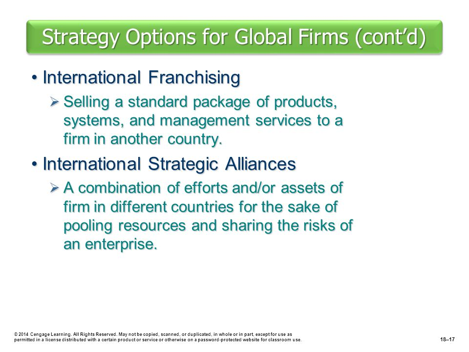 Strategy Options for Global Firms (cont'd) International FranchisingInternational Franchising  Selling a standard package of products, systems, and m