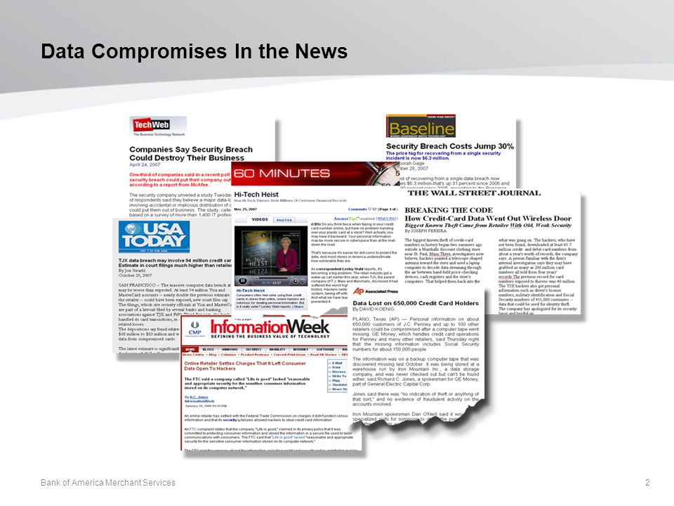 Data Compromises In the News Bank of America Merchant Services 2