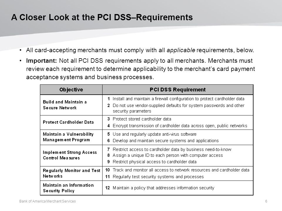 A Closer Look at the PCI DSS–Requirements All card-accepting merchants must comply with all applicable requirements, below.