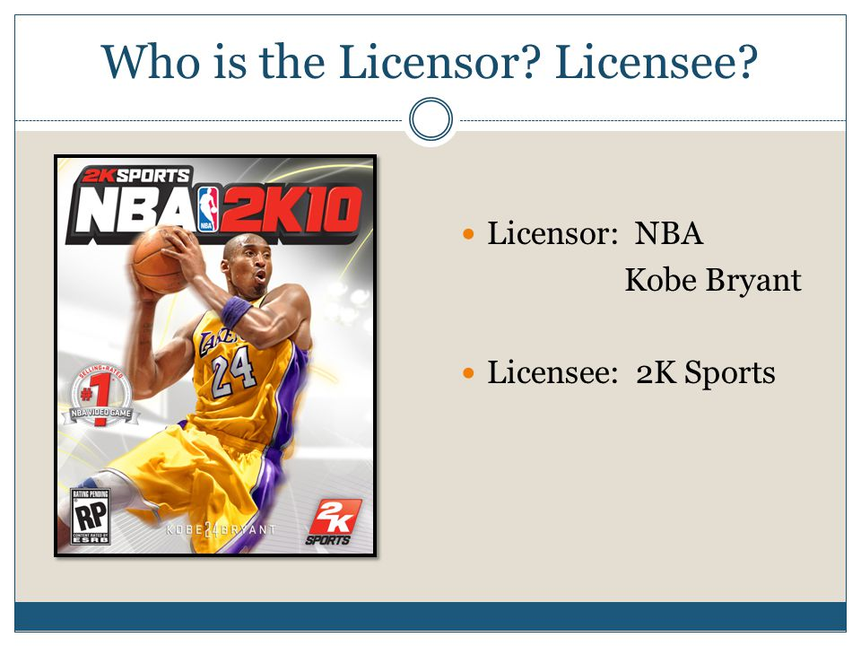 Who is the Licensor? Licensee? Licensor: NBA Kobe Bryant Licensee: 2K Sports