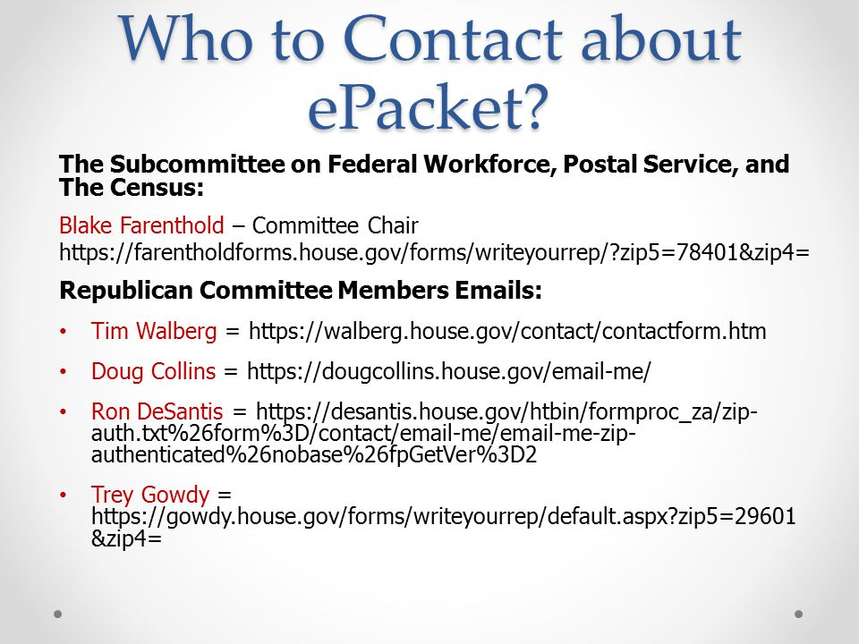 Who to Contact about ePacket.
