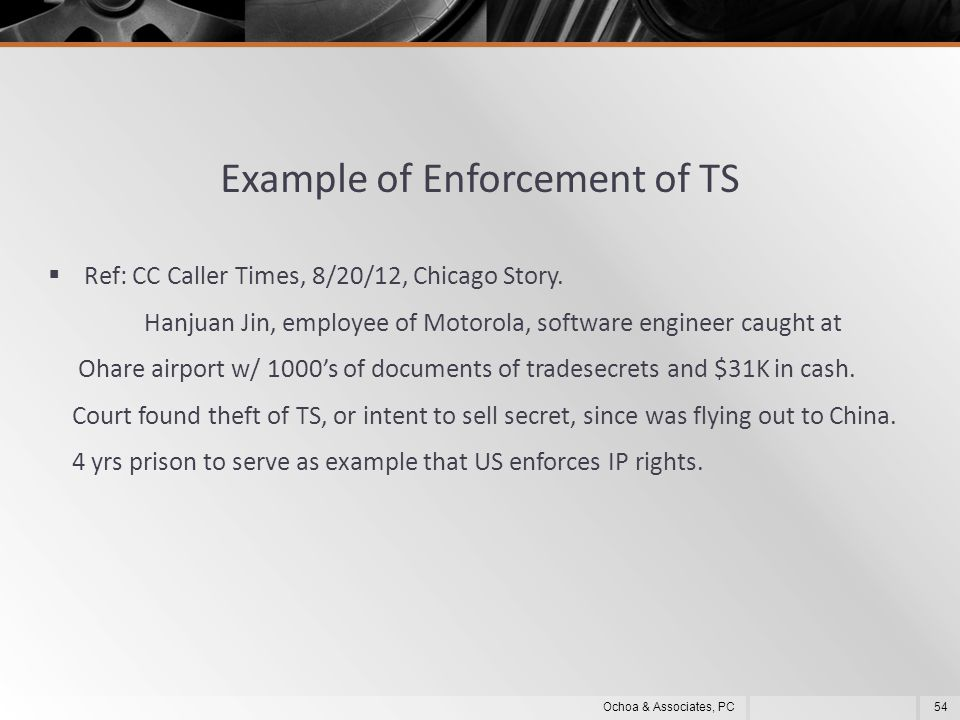 Example of Enforcement of TS  Ref: CC Caller Times, 8/20/12, Chicago Story.