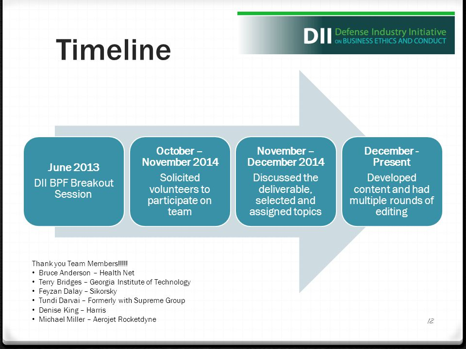 Timeline June 2013 DII BPF Breakout Session October – November 2014 Solicited volunteers to participate on team November – December 2014 Discussed the deliverable, selected and assigned topics December - Present Developed content and had multiple rounds of editing 12 Thank you Team Members!!!!.