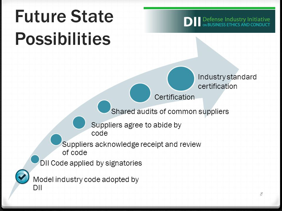 Future State Possibilities Model industry code adopted by DII DII Code applied by signatories Suppliers acknowledge receipt and review of code Suppliers agree to abide by code Shared audits of common suppliers 8 Certification Industry standard certification