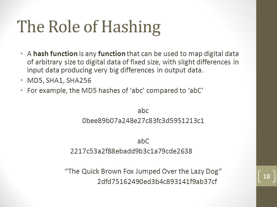 The Role of Hashing A hash function is any function that can be used to map digital data of arbitrary size to digital data of fixed size, with slight