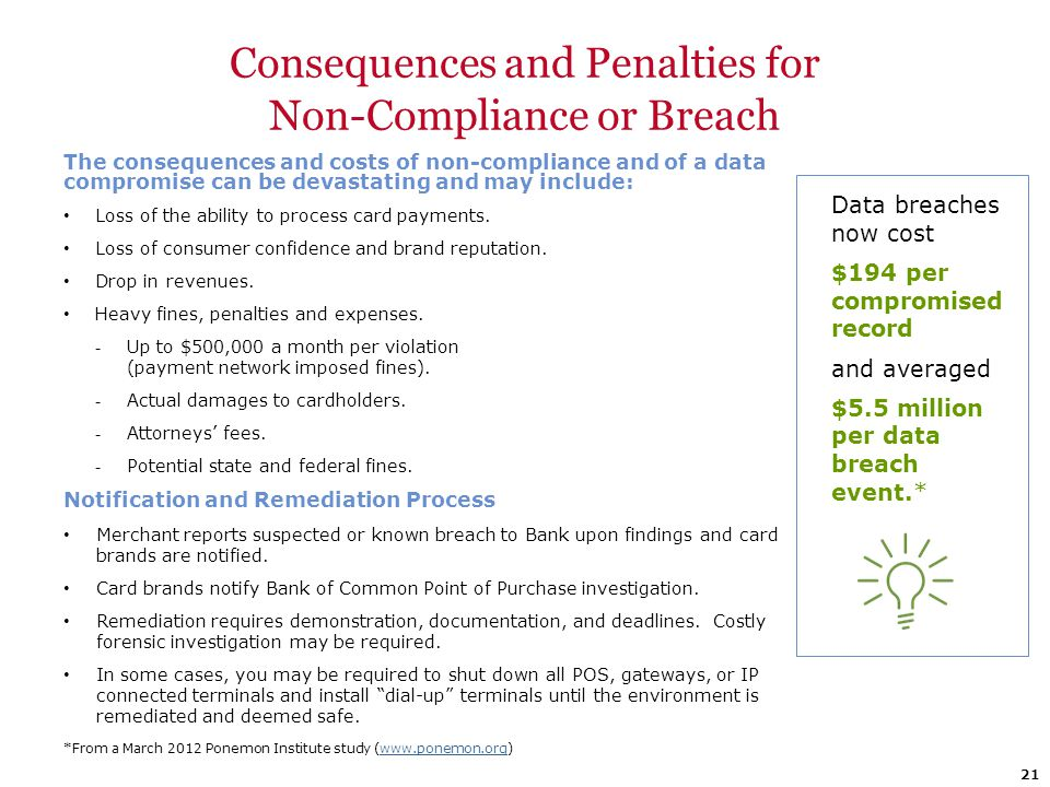 Consequences and Penalties for Non-Compliance or Breach The consequences and costs of non-compliance and of a data compromise can be devastating and m