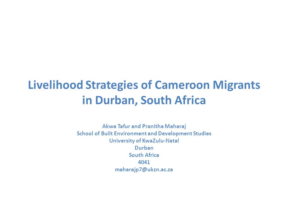 Background Since the early 1990s, South Africa has received an influx of migrants from a number of African countries including Cameroon.