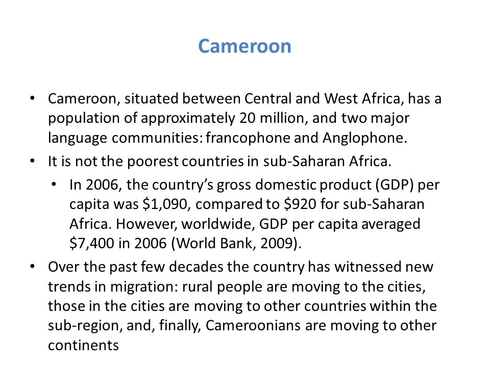 Aim of the Study The aim of this paper is to investigate the reasons for their migration to South Africa and also, explore the livelihood strategies that are used by Cameroonian migrants in the country.