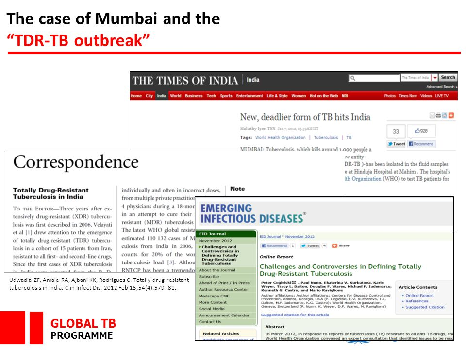 """GLOBAL TB PROGRAMME The case of Mumbai and the """"TDR-TB outbreak"""" Udwadia ZF, Amale RA, Ajbani KK, Rodrigues C. Totally drug-resistant tuberculosis in"""
