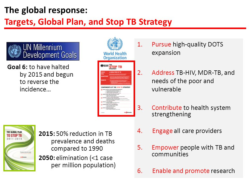 The global response: Targets, Global Plan, and Stop TB Strategy 1.Pursue high-quality DOTS expansion 2.Address TB-HIV, MDR-TB, and needs of the poor and vulnerable 3.Contribute to health system strengthening 4.Engage all care providers 5.Empower people with TB and communities 6.Enable and promote research Goal 6: to have halted by 2015 and begun to reverse the incidence… 2015: 50% reduction in TB prevalence and deaths compared to 1990 2050: elimination (<1 case per million population)