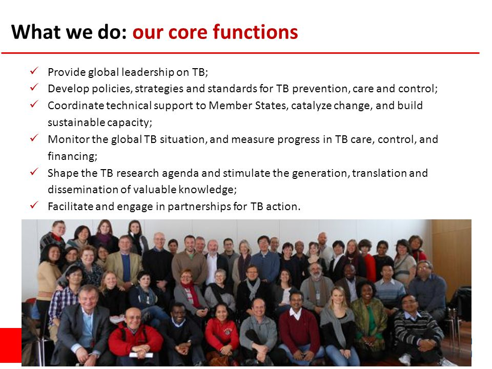 GLOBAL TB PROGRAMME What we do: our core functions Provide global leadership on TB; Develop policies, strategies and standards for TB prevention, care and control; Coordinate technical support to Member States, catalyze change, and build sustainable capacity; Monitor the global TB situation, and measure progress in TB care, control, and financing; Shape the TB research agenda and stimulate the generation, translation and dissemination of valuable knowledge; Facilitate and engage in partnerships for TB action.