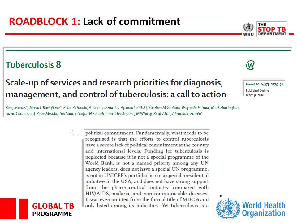 GLOBAL TB PROGRAMME ROADBLOCK 1: Lack of commitment