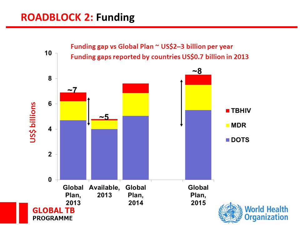 GLOBAL TB PROGRAMME ROADBLOCK 2: Funding US$ billions Funding gap vs Global Plan ~ US$2–3 billion per year Funding gaps reported by countries US$0.7 billion in 2013