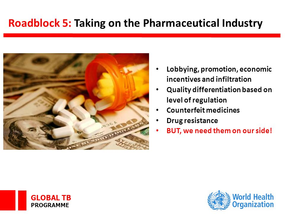 GLOBAL TB PROGRAMME Roadblock 5: Taking on the Pharmaceutical Industry Lobbying, promotion, economic incentives and infiltration Quality differentiation based on level of regulation Counterfeit medicines Drug resistance BUT, we need them on our side!