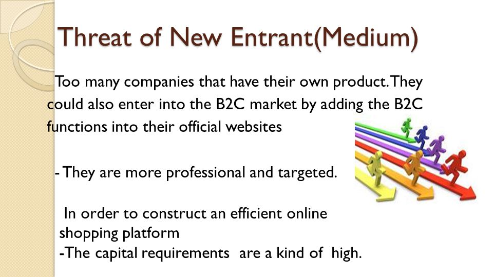 Threat of New Entrant(Medium) Too many companies that have their own product. They could also enter into the B2C market by adding the B2C functions in
