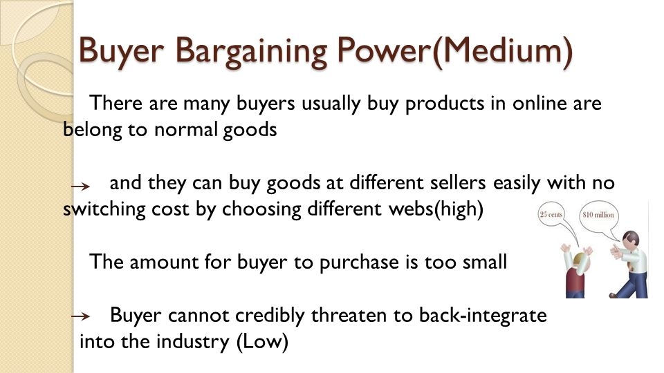 Buyer Bargaining Power(Medium) There are many buyers usually buy products in online are belong to normal goods and they can buy goods at different sel