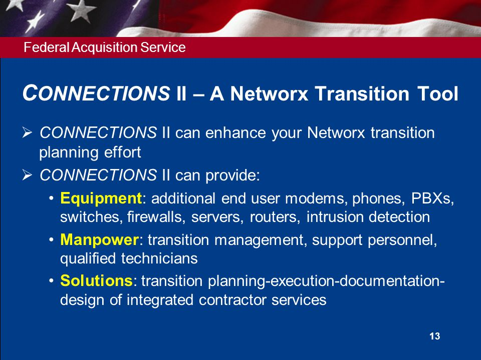Federal Acquisition Service 13 C ONNECTIONS II – A Networx Transition Tool  CONNECTIONS II can enhance your Networx transition planning effort  CONNECTIONS II can provide: Equipment : additional end user modems, phones, PBXs, switches, firewalls, servers, routers, intrusion detection Manpower : transition management, support personnel, qualified technicians Solutions : transition planning-execution-documentation- design of integrated contractor services