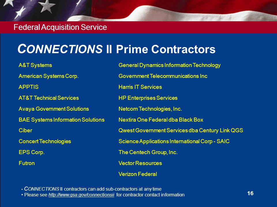 Federal Acquisition Service 16 C ONNECTIONS II Prime Contractors C ONNECTIONS II contractors can add sub-contractors at any time Please see http://www.gsa.gov/connectionsii for contractor contact information A&T SystemsGeneral Dynamics Information Technology American Systems Corp.Government Telecommunications Inc APPTISHarris IT Services AT&T Technical ServicesHP Enterprises Services Avaya Government SolutionsNetcom Technologies, Inc.