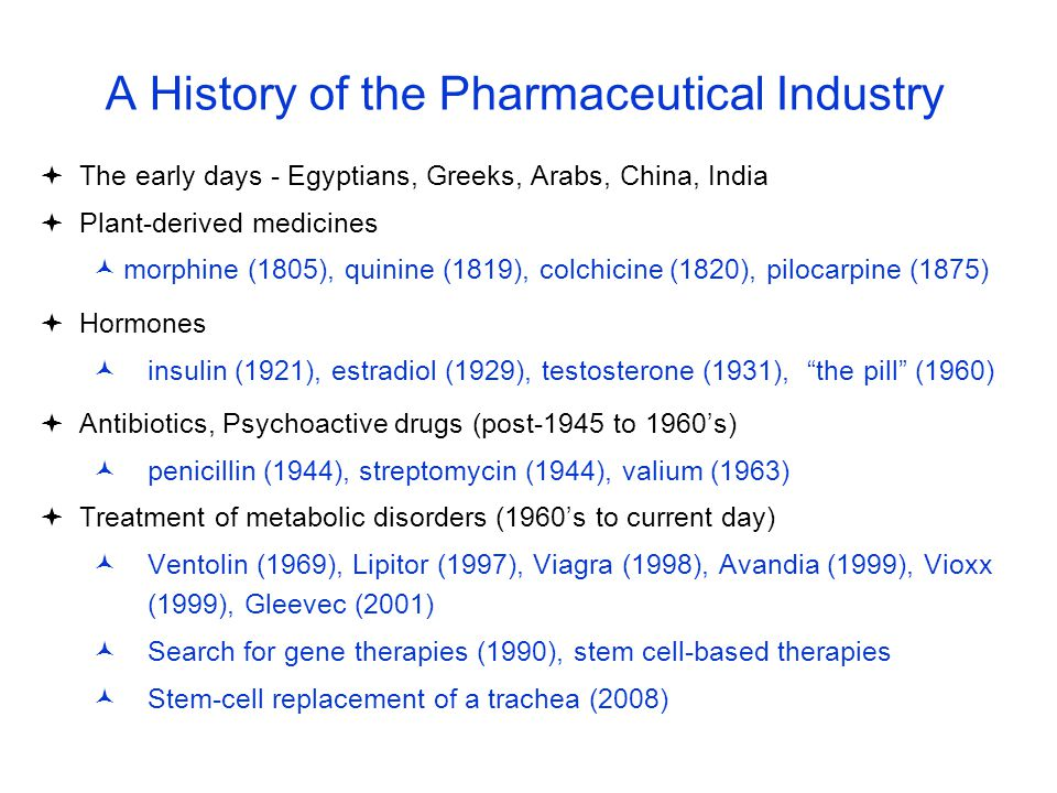 A History of the Pharmaceutical Industry  The early days - Egyptians, Greeks, Arabs, China, India  Plant-derived medicines morphine (1805), quinine