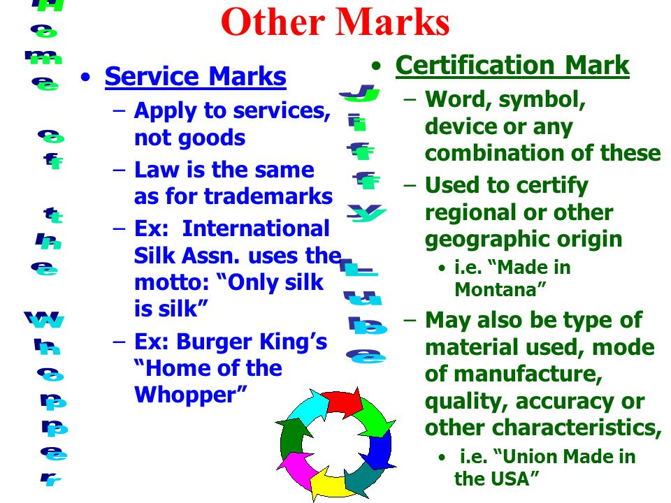 Other Marks Service Marks –Apply to services, not goods –Law is the same as for trademarks –Ex: International Silk Assn.