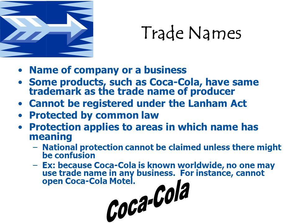 Trade Names Name of company or a business Some products, such as Coca-Cola, have same trademark as the trade name of producer Cannot be registered under the Lanham Act Protected by common law Protection applies to areas in which name has meaning –National protection cannot be claimed unless there might be confusion –Ex: because Coca-Cola is known worldwide, no one may use trade name in any business.