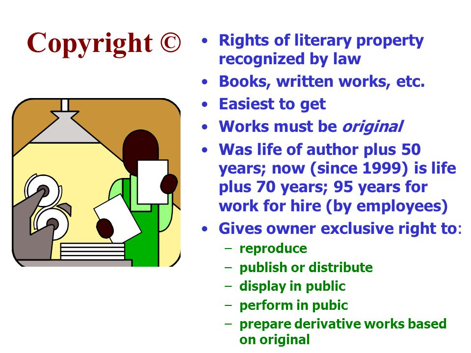 Copyright © Rights of literary property recognized by law Books, written works, etc.