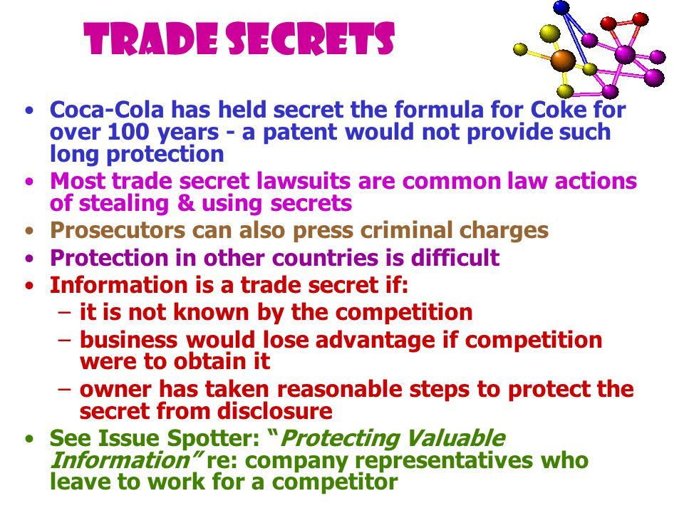 Trade Secrets Coca-Cola has held secret the formula for Coke for over 100 years - a patent would not provide such long protection Most trade secret lawsuits are common law actions of stealing & using secrets Prosecutors can also press criminal charges Protection in other countries is difficult Information is a trade secret if: –it is not known by the competition –business would lose advantage if competition were to obtain it –owner has taken reasonable steps to protect the secret from disclosure See Issue Spotter: Protecting Valuable Information re: company representatives who leave to work for a competitor