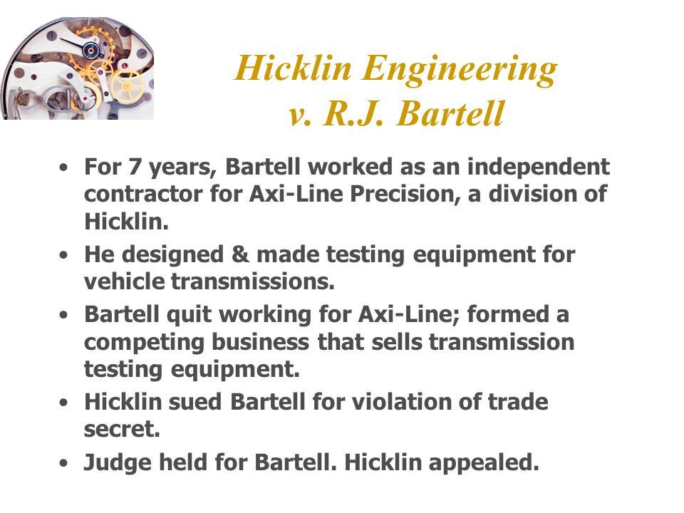 Hicklin Engineering v. R.J.